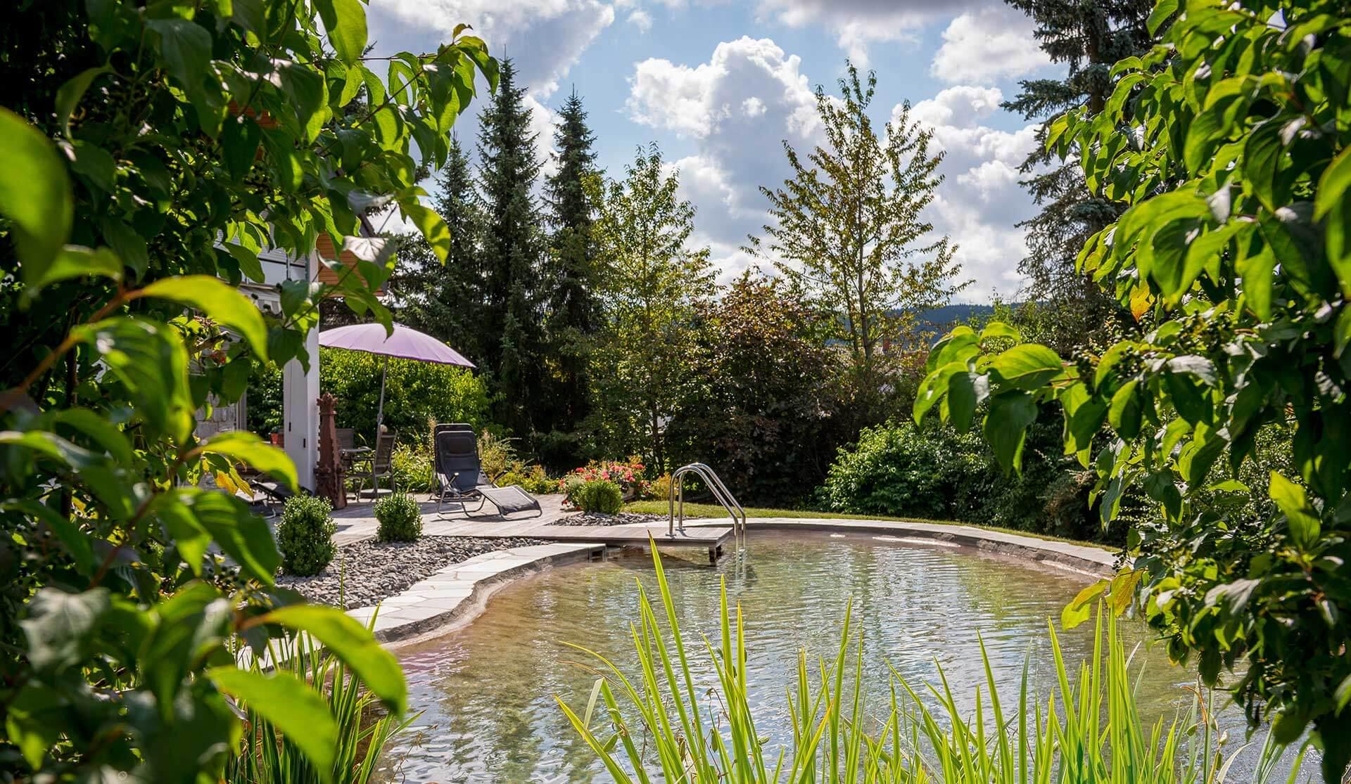 Badeteich im Garten mit Steg und Einstiegsleiter
