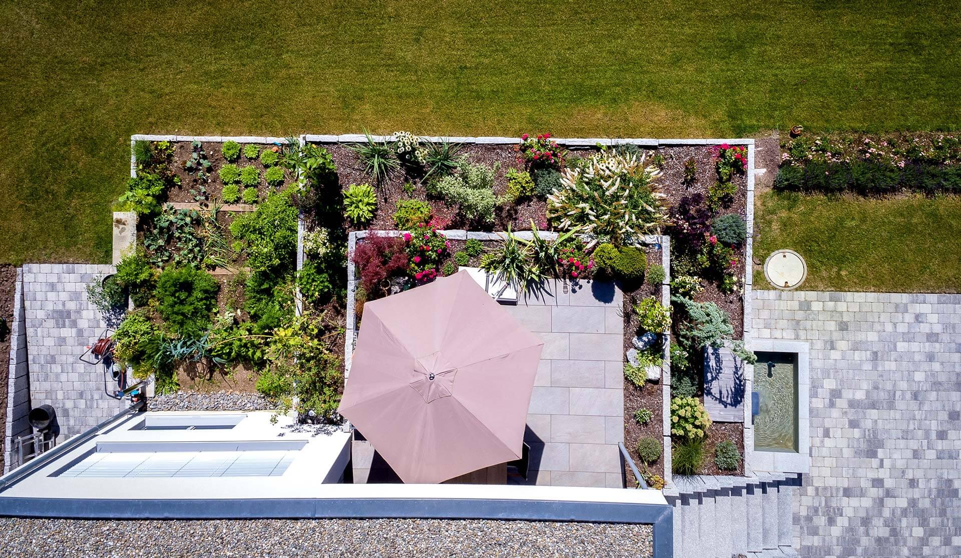 Gartenterrasse von oben in Rottweil